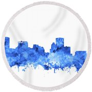 Round Beach Towel featuring the painting Baltimore Skyline Watercolor 7 by Bekim Art