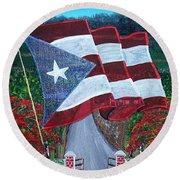 Bandera De Puerto Rico Round Beach Towel