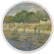 Bank Of The Seine Paris, May - July 1887 Vincent Van Gogh 1853 - 1890 Round Beach Towel