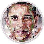 Barack Obama Round Beach Towel by Richard Day