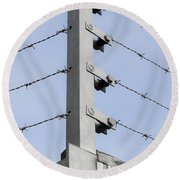 Barbed Wire Fence Round Beach Towel