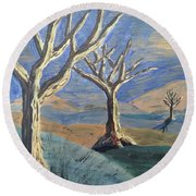 Round Beach Towel featuring the painting Bare Trees by Judy Via-Wolff