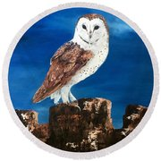 Barn Owl Round Beach Towel by Jean Walker