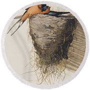 Barn Swallow Round Beach Towel by John James Audubon