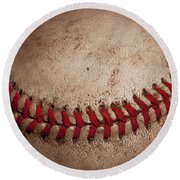 Round Beach Towel featuring the photograph Baseball Seams by David Patterson