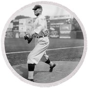 Baseball Star Walter Johnson Round Beach Towel by Underwood Archives