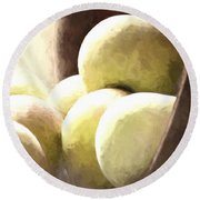 Basket Of Apples Round Beach Towel