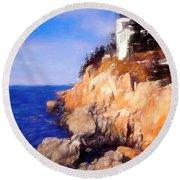 Bass Harbor Lighthouse,acadia Nat. Park Maine. Round Beach Towel