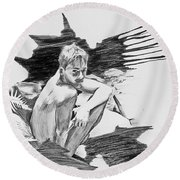 Round Beach Towel featuring the painting Bathed In White Light by Rene Capone