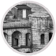 Round Beach Towel featuring the photograph Battery Weed At Fort Wadsworth Nyc by Susan Candelario