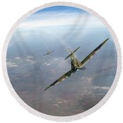 Round Beach Towel featuring the photograph Battle Of Britain Spitfires Over Kent by Gary Eason