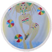 Beach Ball Surfer Round Beach Towel