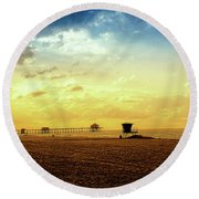 Beach Pier Round Beach Towel by Joseph Hollingsworth