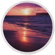 Round Beach Towel featuring the photograph Beach Sunset by Will Gudgeon