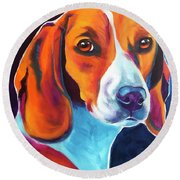 Beagle - Lucille Round Beach Towel