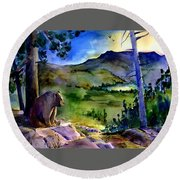 Bearly Light At Castle Peak Round Beach Towel