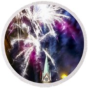Round Beach Towel featuring the painting Beautiful Fireworks In Budapest Hungary by Odon Czintos