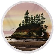 Round Beach Towel featuring the painting Beautiful Shore by James Williamson