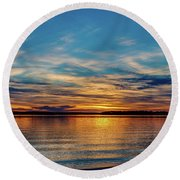 Beautiful Sunset Round Beach Towel by Doug Long