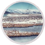 Beautiful Winter Landscape Round Beach Towel