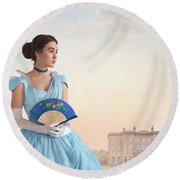 Beautiful Young Victorian Woman Round Beach Towel
