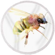 Bee Round Beach Towel by Suren Nersisyan