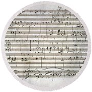 Beethoven Manuscript Round Beach Towel