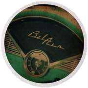 Round Beach Towel featuring the photograph Belair Dashboard by Joel Witmeyer