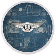 Bentley - 3 D Badge Over 1930 Bentley 4.5 Liter Blower Vintage Blueprint Round Beach Towel