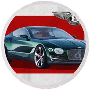 Bentley E X P  10 Speed 6 With  3 D  Badge  Round Beach Towel