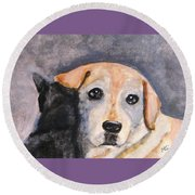 Best Friends Round Beach Towel by Angela Davies