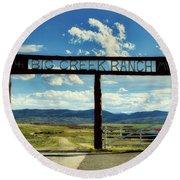 Big Creek Ranch Round Beach Towel by L O C