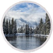 Big Springs In Winter Idaho Journey Landscape Photography By Kaylyn Franks Round Beach Towel