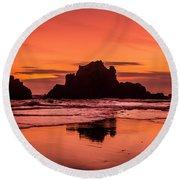 Big Sur Sunset Round Beach Towel