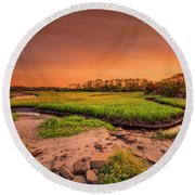 Round Beach Towel featuring the photograph Big Talbot Island by Peter Lakomy