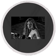 Biker Chick Round Beach Towel