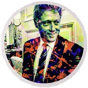 Round Beach Towel featuring the mixed media Bill Clinton by Svelby Art