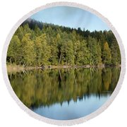 Birches And Reflection Round Beach Towel