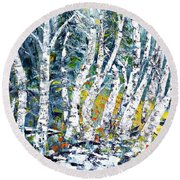 Round Beach Towel featuring the painting Birches Pond by AmaS Art