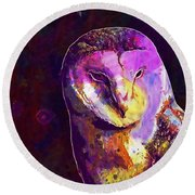 Round Beach Towel featuring the digital art Bird Barn Owl Owl Barn Animal  by PixBreak Art