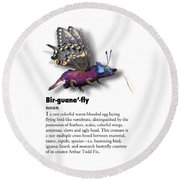 Round Beach Towel featuring the digital art Birguanafly by Arthur Fix