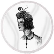 Round Beach Towel featuring the mixed media Black And White Watercolor Fashion Illustration by Marian Voicu