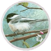 Round Beach Towel featuring the painting Black Cap Chickadee by Mike Brown