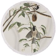Black Capped Titmouse Round Beach Towel