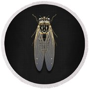 Black Cicada With Gold Accents On Black Canvas Round Beach Towel