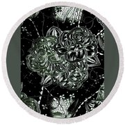 Black Flower Round Beach Towel