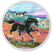 Black Pony Round Beach Towel by Mary Armstrong