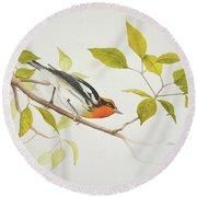 Blackburnian Warbler Round Beach Towel