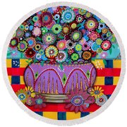 Round Beach Towel featuring the painting Blooms by Pristine Cartera Turkus