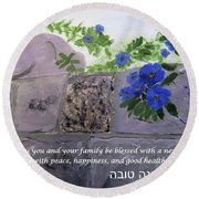 Blossoms Along The Wall Round Beach Towel
